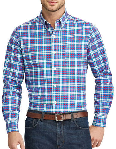 Chaps Plaid Woven Sport Shirt-BLUE-2X Tall