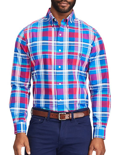 Chaps Plaid Oxford Shirt-BLUE-Large Tall