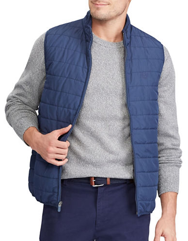 Chaps Packable Quilted Vest-NAVY-Large