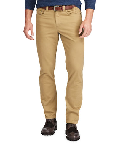 Chaps Stretch Five-Pocket Twill Pants-BROWN-34X32