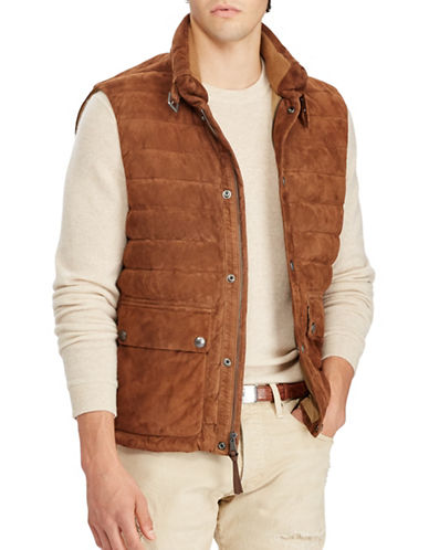 Polo Ralph Lauren Quilted Suede Down Vest-BROWN-Small