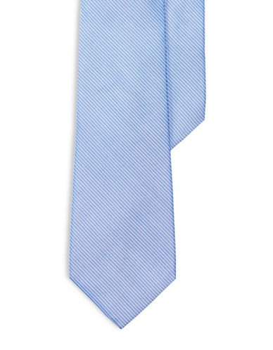 Lauren Ralph Lauren Striped Silk-Cotton Tie-BLUE-One Size