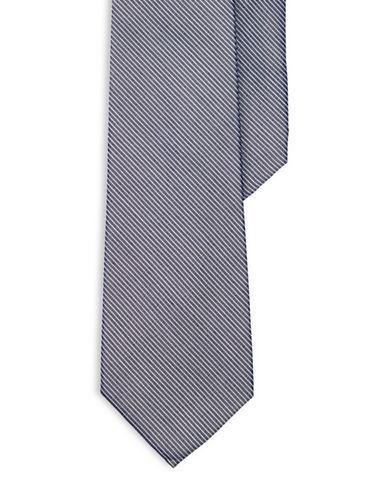 Lauren Ralph Lauren Striped Silk-Cotton Tie-NAVY-One Size