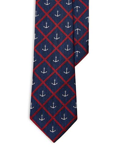 Lauren Ralph Lauren Anchor Windowpane Silk Tie-NAVY-One Size