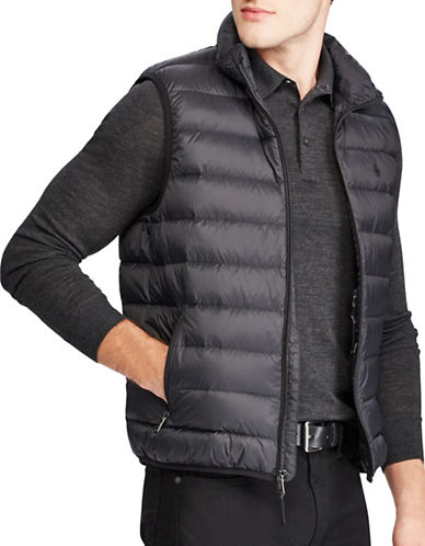Polo Ralph Lauren Big and Tall Packable Down Vest-BLACK-2X Big