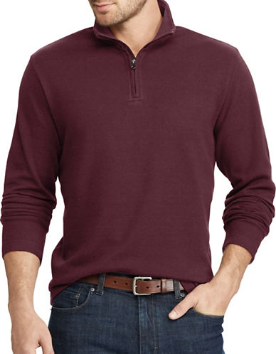 Chaps Herringbone Mockneck Cotton Pullover-RED-X-Large