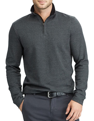 Chaps Herringbone Mockneck Cotton Pullover-BLACK-Small