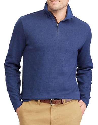 Chaps Herringbone Mockneck Cotton Pullover-BLUE-Medium