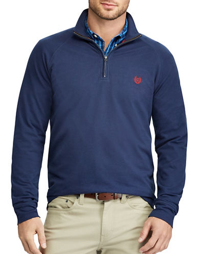 Chaps Stretch Mockneck Pullover-NAVY-Large