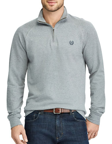Chaps Stretch Mockneck Pullover-GREY-Small