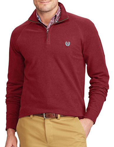 Chaps Stretch Mockneck Pullover-RED-Large