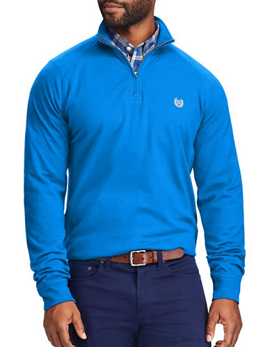 Chaps Stretch Mockneck Pullover-BLUE-Large