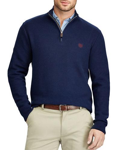Chaps Mockneck Zip Sweater-NAVY-Large