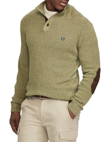 Chaps Mock Neck Sweater-GREEN-Small
