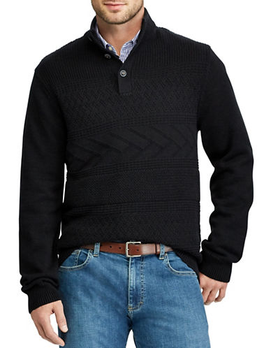 Chaps Patterned Cotton Sweater-BLACK-Large