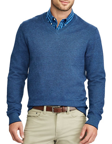 Chaps V-Neck Sweater-NAVY-Medium