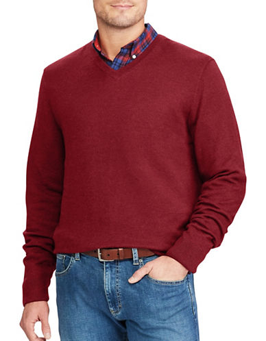 Chaps V-Neck Sweater-RED-X-Large