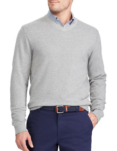 Chaps V-Neck Sweater-GREY-Medium