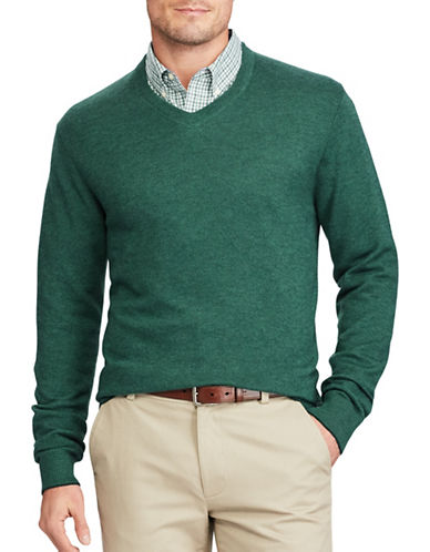 Chaps V-Neck Sweater-GREEN-Large