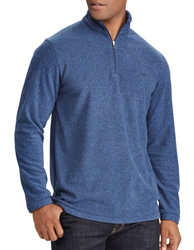 Chaps Mockneck Basic Sweater-BLUE-Large