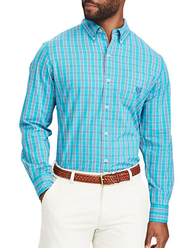 Chaps Plaid Stretch Poplin Button-Down Shirt-BLUE-X-Large