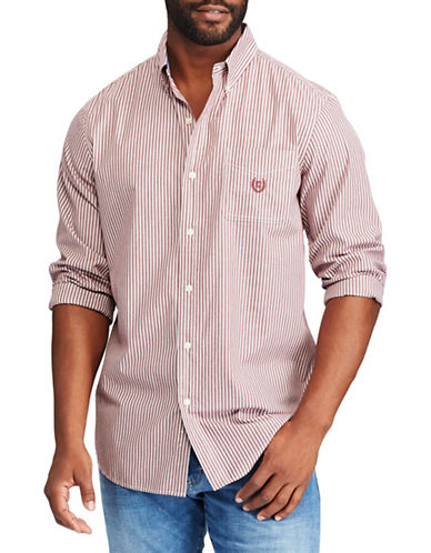 Chaps Easy Care Woven Casual Button-Down Shirt-RED-X-Large
