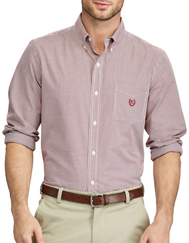 Chaps Easy Care Casual  Sport Shirt-RED-Small