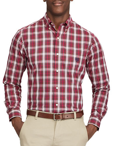 Chaps Plaid Button-Down Shirt-RED-Small