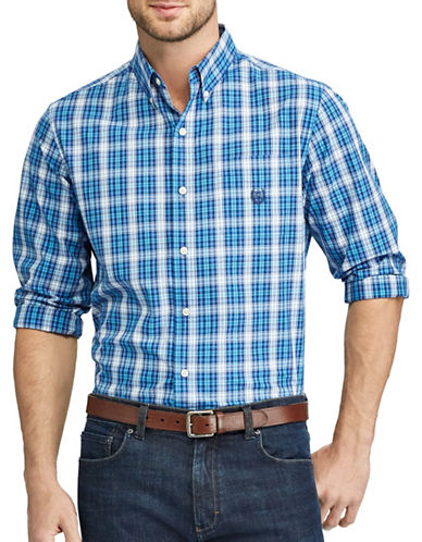 Chaps Plaid Button-Down Shirt-BLUE-X-Large