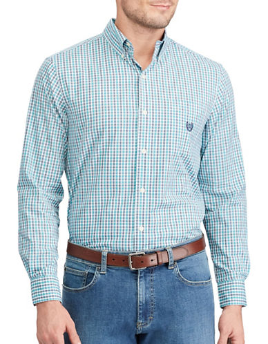 Chaps Checked Sport Shirt-GREEN-Small