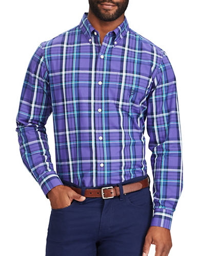 Chaps Plaid Sport Shirt-PURPLE-X-Large