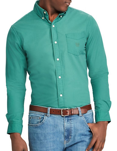 Chaps Stretch Poplin Sport Shirt-GREEN-X-Large