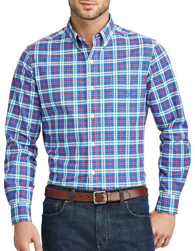Chaps Plaid Stretch Sport Shirt-PINK/BLUE-Medium