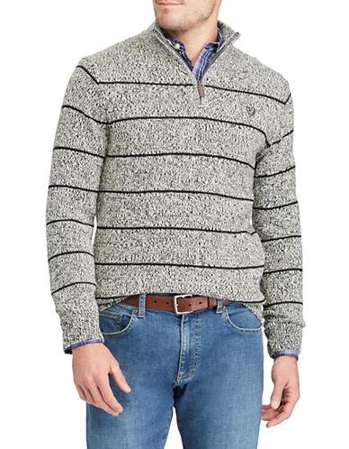 Chaps Striped Quarter-Zip Cotton Sweater-BLACK-Small