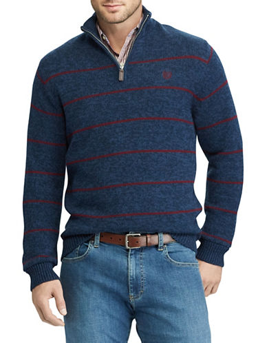 Chaps Striped Quarter-Zip Cotton Sweater-BLUE-Medium