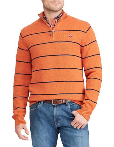 Chaps Striped Quarter-Zip Cotton Sweater-ORANGE-X-Large
