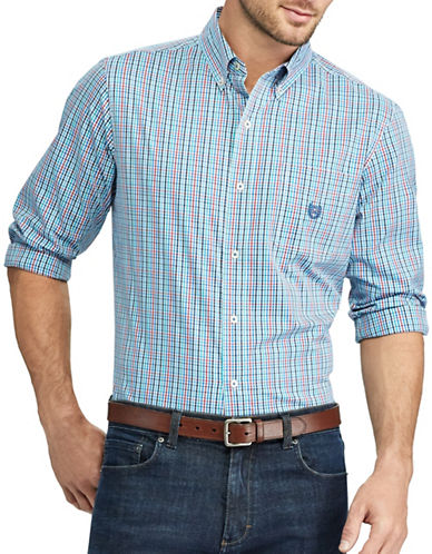 Chaps Checked Stretch Poplin Button-Down Shirt-BLUE-Large