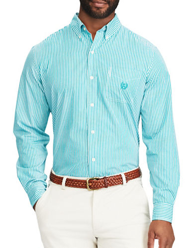 Chaps Striped Stretch Poplin Shirt-GREEN-Medium