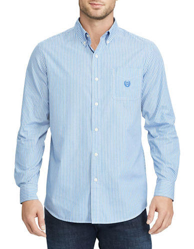 Chaps Striped Stretch Poplin Shirt-BLUE-Large
