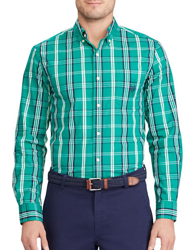 Chaps Plaid Poplin Shirt-GREEN-X-Large