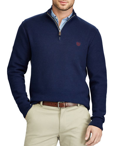 Chaps Zip Mockneck Sweater-NAVY-3X Tall