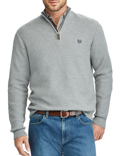 Chaps Zip Mockneck Sweater-GREY-1X Tall