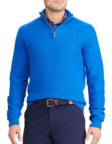 Chaps Zip Mockneck Sweater-BLUE-3X Tall