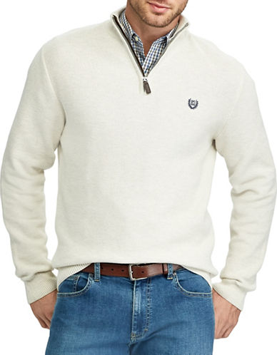 Chaps Zip Mockneck Sweater-NATURAL-2X Big