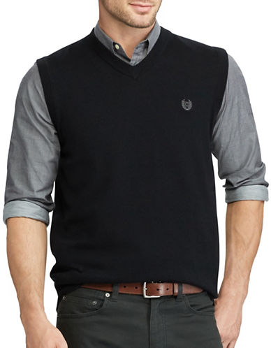 Chaps Cotton Sweater Vest-BLACK-1X Tall