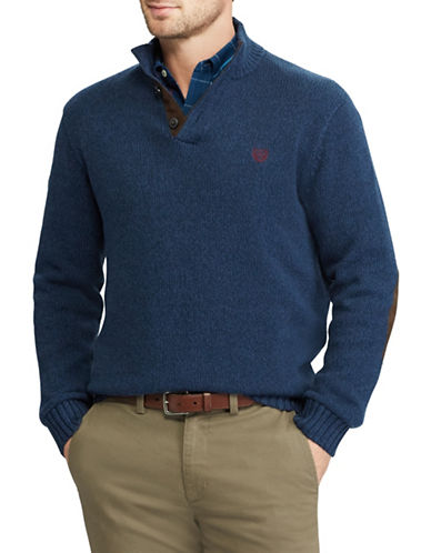 Chaps Mockneck Sweater-BLUE-2X Big
