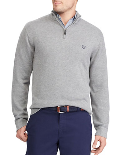 Chaps Big and Tall Jersey Pullover Sweater-GREY-Large Tall