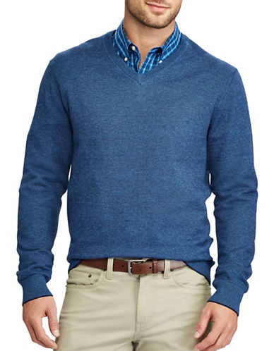Chaps V-Neck Sweater-NAVY-3X Tall