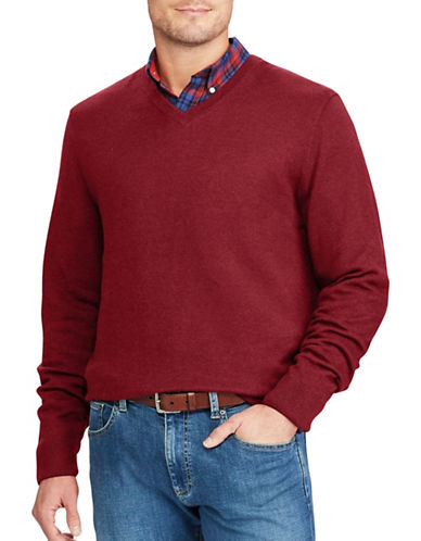 Chaps Big and Tall V-Neck Sweater-RED-Large Tall
