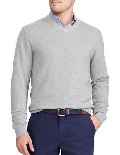 Chaps V-Neck Sweater-GREY-3X Big